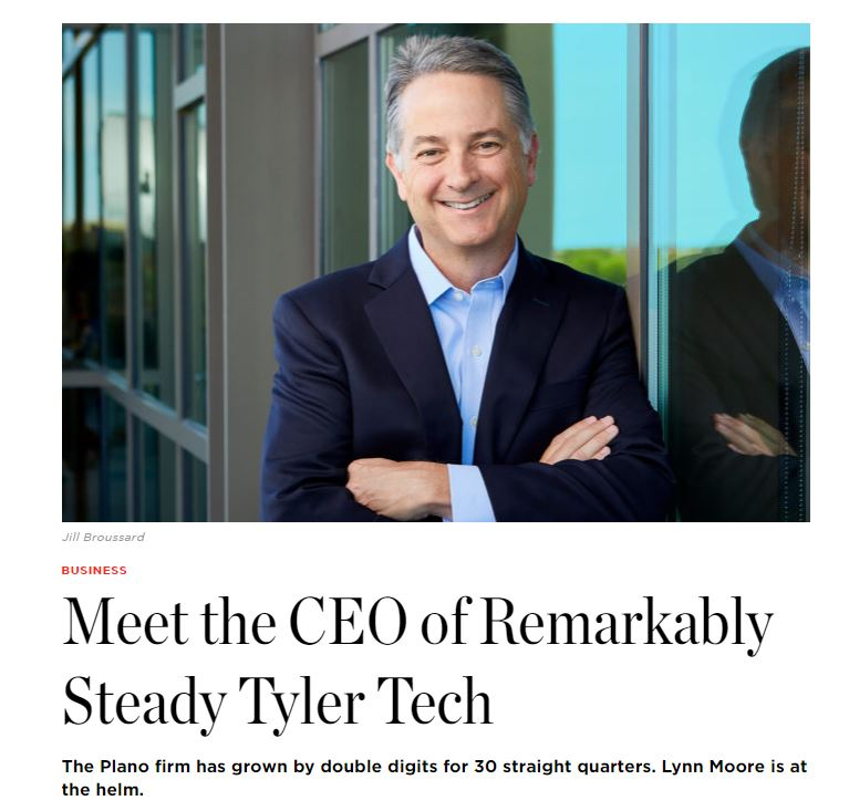 Article in D CEO Magazine featuring Lynn Moore, CEO of Tyler Technologies.