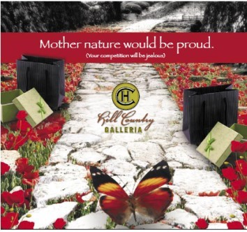 Hill Country Galleria messaging and images used nature as a backdrop to attract national and local retailers.