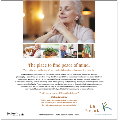 La Posada Senior Living brochure with images of peaceful older adults to reinforce safety and security of the community.