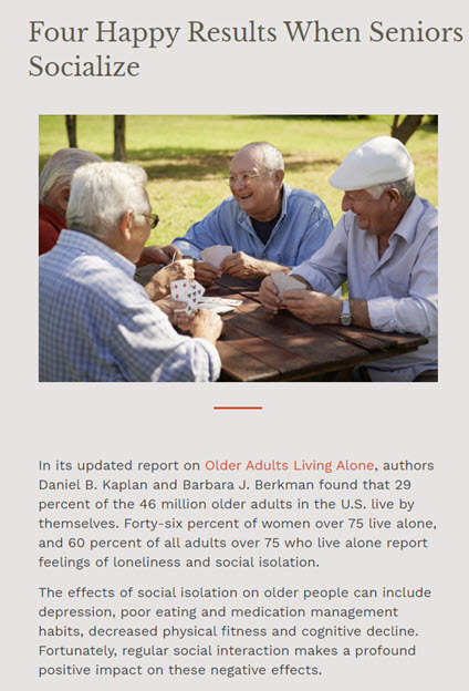 SEO blog post for Legacy Senior Comunities about senior socialization with happy seniors playing cards.
