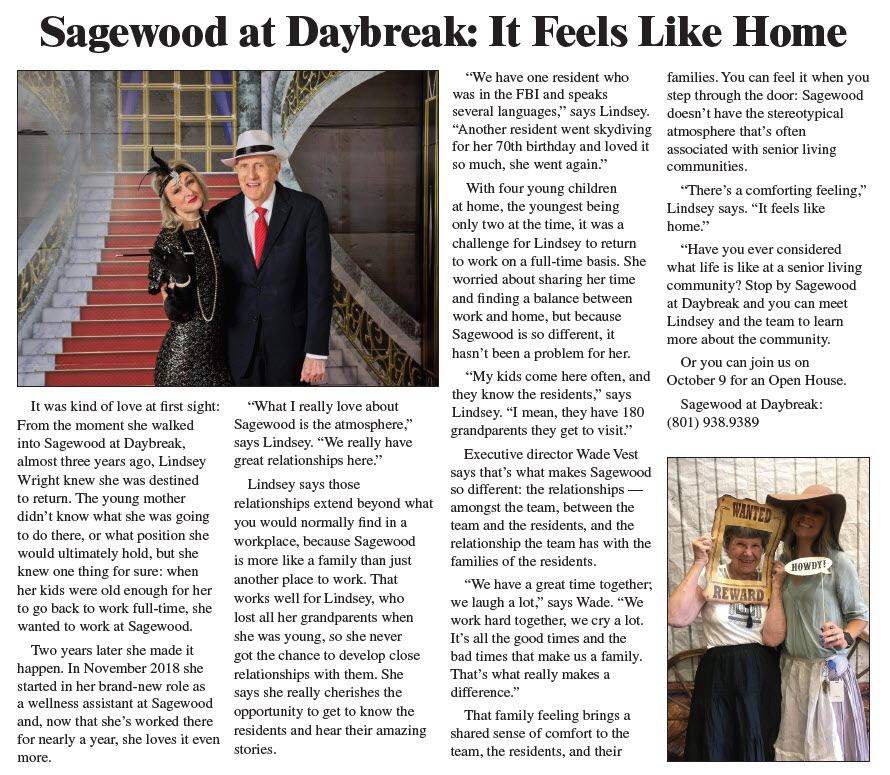 News coverage showing residents at Sagewood at themed party events, showcasing the fun aspects of living there.