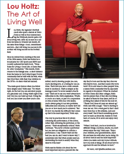 Lou Holtz speaks about the art of living well at the Cardinal Senior Living speaker series.