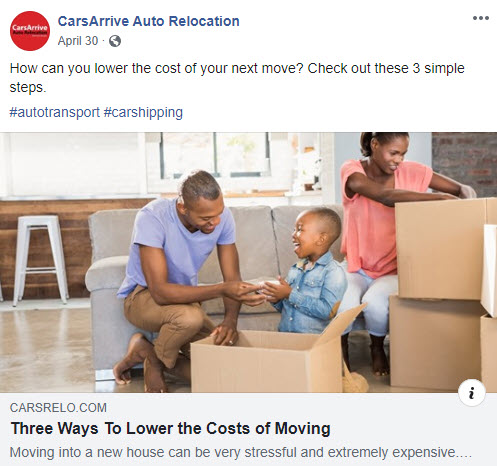 Facebook post with family packing boxes and link to CarsArrive blog post on moving tips to drive leads to website.