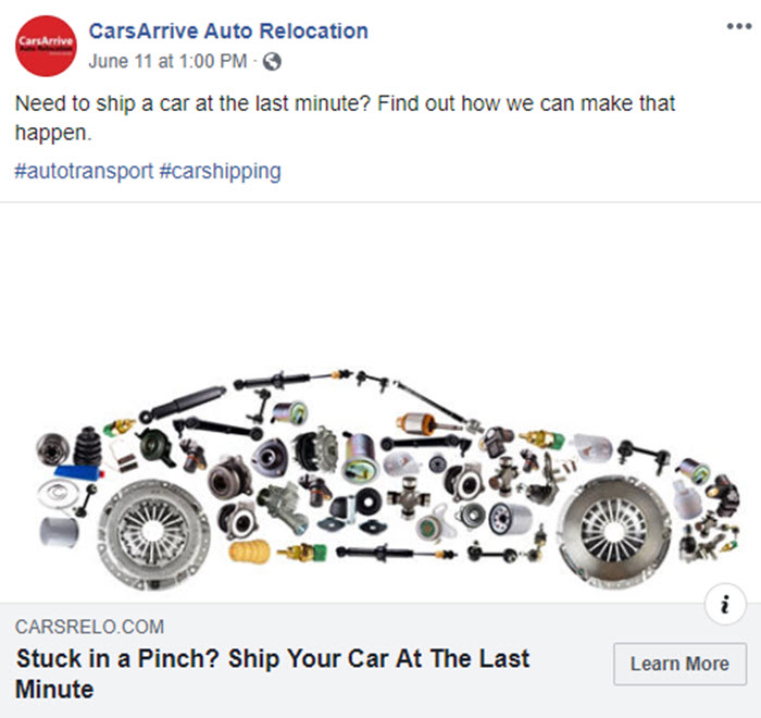 Facebook post for CarsArrive showcasing informative blog posts designed to drive traffic to their website.