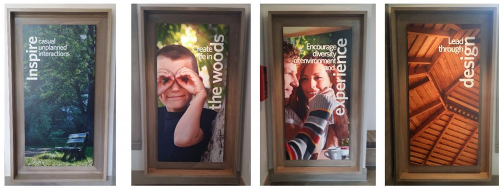Outdoor advertisements created for The Groves featuring children, trees and young people.
