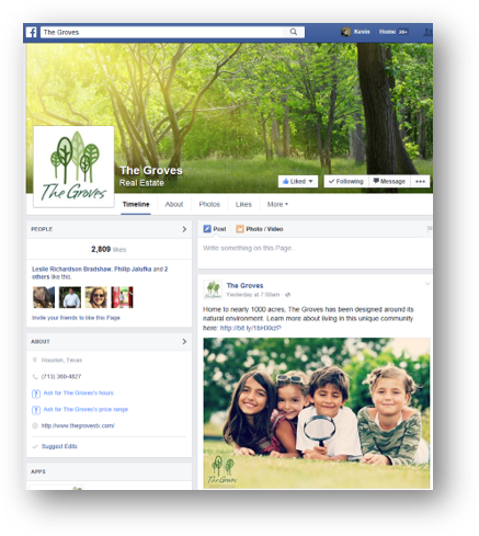 The Groves Facebook page with posts featuring young children to try and attract families.