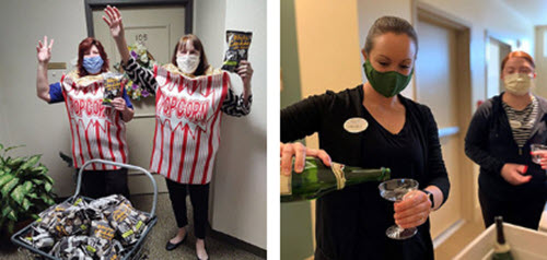 Photos of residents and staff in masks handing out treats and drinks that we used as crisis communication tools for media outlets.
