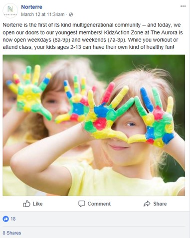 Norterre social media post with little girls painting hands in class.