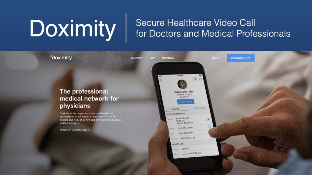 Screenshot of Doximity home page, a social media platform for physicians and a focus of our b2b marketing campaign.