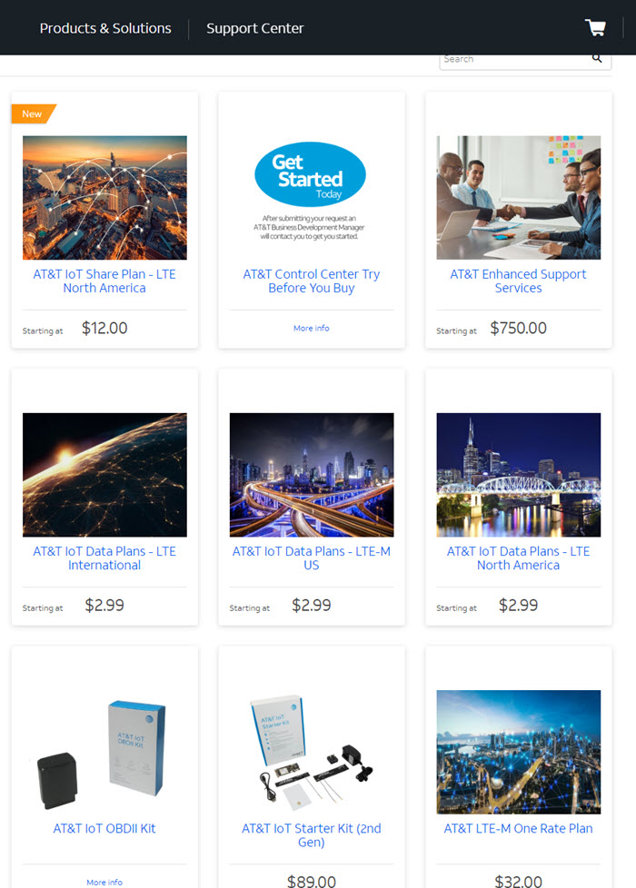 Screenshot of services and products on AT&T's IoT Marketplace, the focus of our digital marketing campaign.