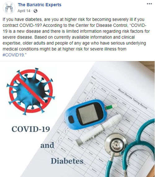 Facebook post that warns of connection between diabetes and covid complications - part of social media strategy to increase leads.