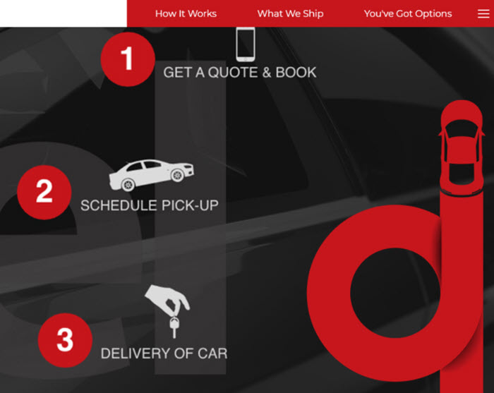 Screenshot of simple 1-2-3 messaging we created for CarsArrive web and collateral materials.