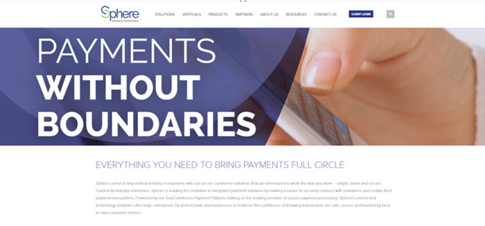 Sphere branding and messaging seen across the website, in social, and in collateral materials.